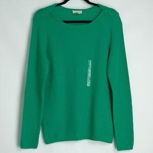 LOFT Green Waffle Knit Tunic Boatneck Sweater Sz L